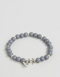 Серый браслет из бусин с якорем Icon Brand - Серый
