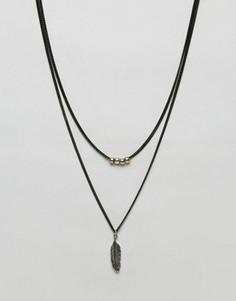 Черное ожерелье с подвеской в виде пера Icon Brand - Черный