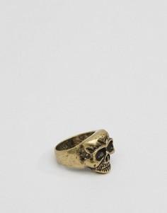Золотистое кольцо с черепом Icon Brand - Золотой