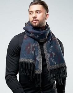 Бордово-горчичный шарф с ацтекским принтом ASOS - Мульти