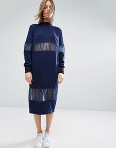 Платье миди с шифоновой вставкой ASOS WHITE - Темно-синий