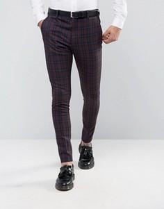 Суперузкие брюки в клетку Selected Homme - Красный