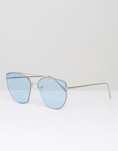 Солнцезащитные очки из металла с голубыми стеклами ASOS - Серебряный