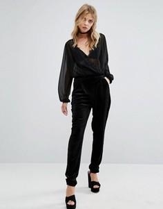 Бархатные узкие брюки First & I - Черный