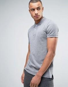 Серая меланжевая узкая футболка-поло из пике Esprit - Серый