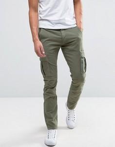 Узкие брюки-карго Selected Homme - Зеленый