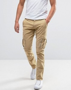 Узкие брюки-карго Selected Homme - Бежевый