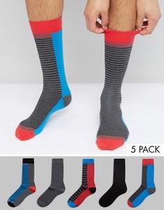 Набор из 5 пар носков в полоску Urban Eccentric - Мульти