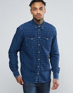 Жаккардовая джинсовая рубашка слим Pepe - Темно-синий