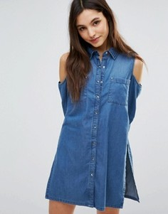Джинсовое платье-рубашка с открытыми плечами Parisian - Синий