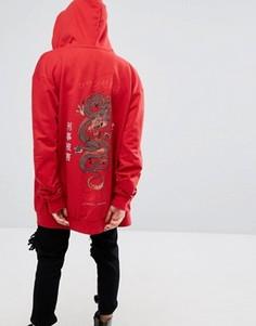 Свободное худи на молнии с принтом дракона сзади Criminal Damage - Оранжевый