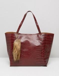 Бордовая сумка-тоут из искусственной кожи и меха Glamorous - Красный