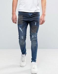 Синие джинсы с заниженным шаговым швом SikSilk Deepsea - Синий