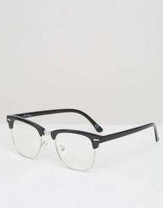 Очки в полуоправе с прозрачными стеклами Jeepers Peepers - Черный