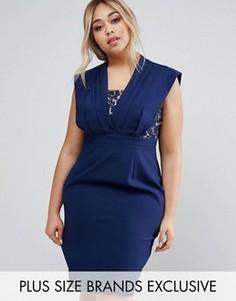 Платье-футляр с кружевной вставкой Little Mistress Plus - Темно-синий