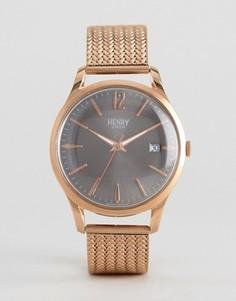 Золотистые часы на сетчатом ремешке Henry London Finchley - Золотой