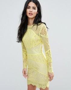 Кружевное облегающее платье мини со вставками Forever Unique - Желтый