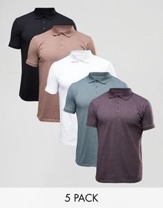 5 трикотажных футболок-поло ASOS - СКИДКА - Мульти