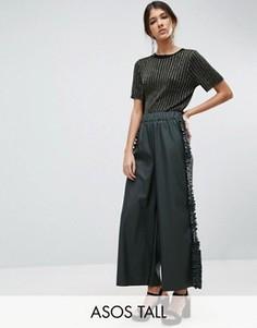 Юбка-брюки из искусственной кожи с оборками по бокам ASOS TALL - Зеленый