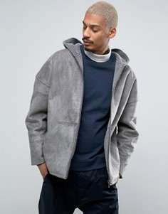 Серая двусторонняя куртка из искусственного меха с капюшоном ASOS - Серый