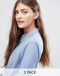 Набор из 2 заколок для волос со стразами DesignB - Серебряный