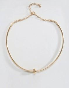Структурированное ожерелье с узлом DesignB - Золотой