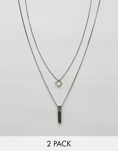 2 ожерелья с подвесками Icon Brand - Серебряный