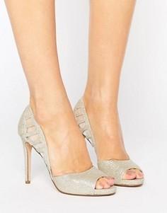 Туфли на каблуке цвета металлик с вырезами Faith Carbo - Серебряный