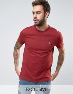 Узкая бордовая футболка с маленьким логотипом Original Penguin - Красный