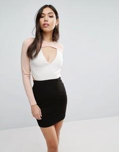 Платье колор блок с вырезом Parisian - Мульти