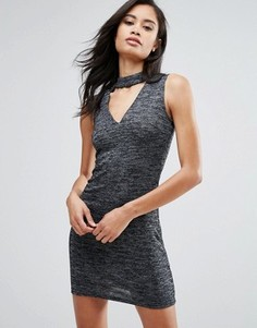 Облегающее платье с горловиной-чокер Parisian - Серый