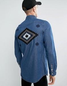 Джинсовая рубашка с вышивкой Liquor & Poker - Синий