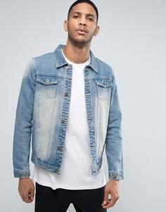Джинсовая куртка с простроченной надписью Love Hate Liquor & Poker - Синий