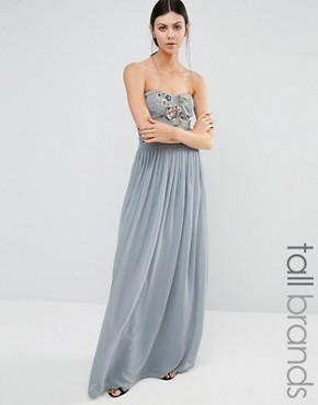 Длинное платье-бандо с вышивкой Maya Tall - Серый