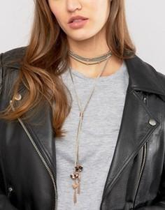 Замшевое ожерелье-чокер ASOS - Серый
