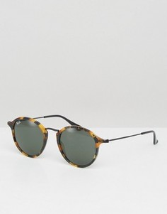 Солнцезащитные очки в круглой черепаховой оправе Ray-Ban 0RB2447 - Коричневый