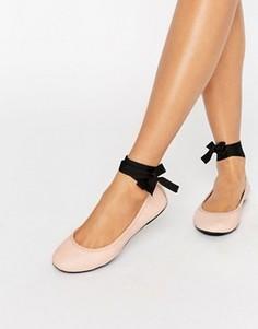 Кожаные балетки с завязками London Rebel - Бежевый
