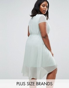 Короткое приталенное платье с удлиненной задней частью Koko Plus - Синий