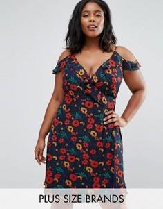 Платье с запахом, оборками и цветочным принтом Koko Plus - Темно-синий