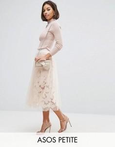 Кружевная юбка для выпускного с сеткой ASOS PETITE - Розовый