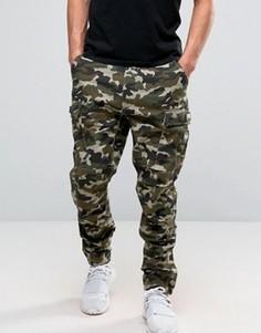 Камуфляжные брюки-карго с нашивками в стиле милитари Dxpe Chef - Зеленый