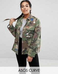 Камуфляжная рубашка с пайетками и нашивками ASOS CURVE - Мульти