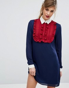 Контрастное платье с воротником и оборкой Fashion Union - Темно-синий