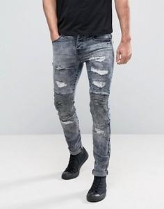 Зауженные байкерские джинсы с потертостями Sixth June - Синий