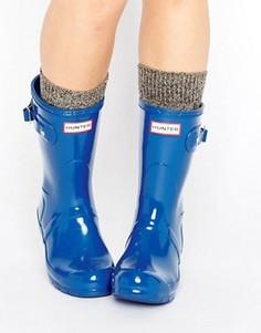 Короткие блестящие резиновые сапоги Hunter Original - Синий