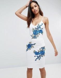 Платье миди с вышивкой Club L - Белый