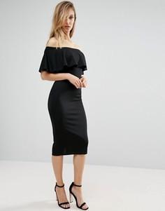 Платье миди с широким вырезом и оборкой Club L - Черный
