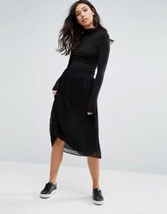 Плиссированная юбка миди Minimum - Черный