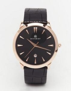 Классические часы с черным кожаным ремешком Accurist - Черный