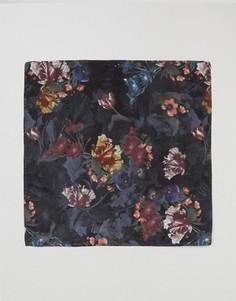 Платок для нагрудного кармана с темным цветочным принтом ASOS - Черный